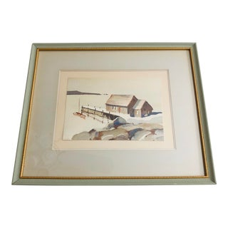 "Early 20th Century Framed ""Lakeside in Maine"" Original Watercolor For Sale"