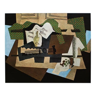 """1940s Georges Braque, """"The Glass and Guitar"""" Original Period Swiss Lithograph For Sale"""