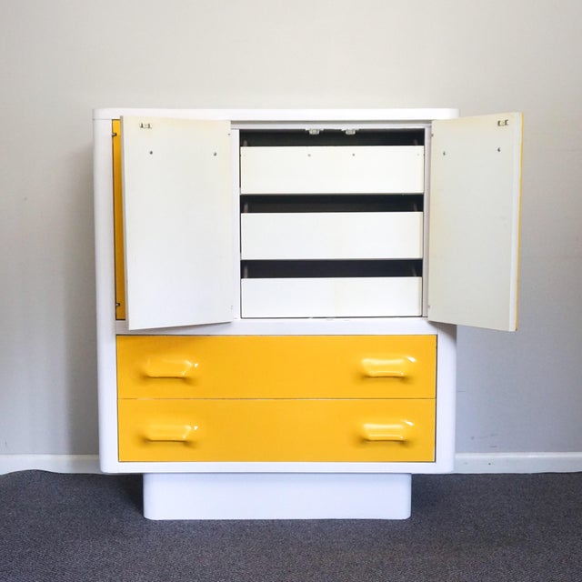 Broyhill 1970s Mid Century Modern Broyhill Premier Chapter One Yellow Armoir Dresser For Sale - Image 4 of 8
