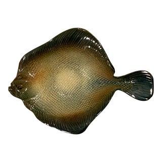 1960s Ceramic Flounder Plate/Bowl, Signed For Sale