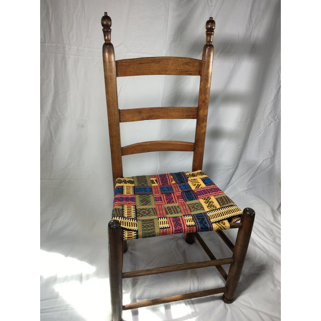 1950s Vintage Wood and Multicolor Woven Chair For Sale In San Francisco - Image 6 of 6