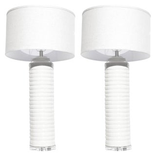1980s Contemporary Cream Glazed Ceramic Stacked Columnar Lamps - a Pair For Sale