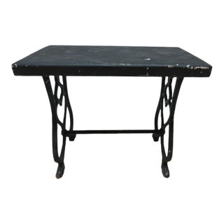 Antique Victorian Black Cast Iron Pierce Carved Stool Ottoman For Sale