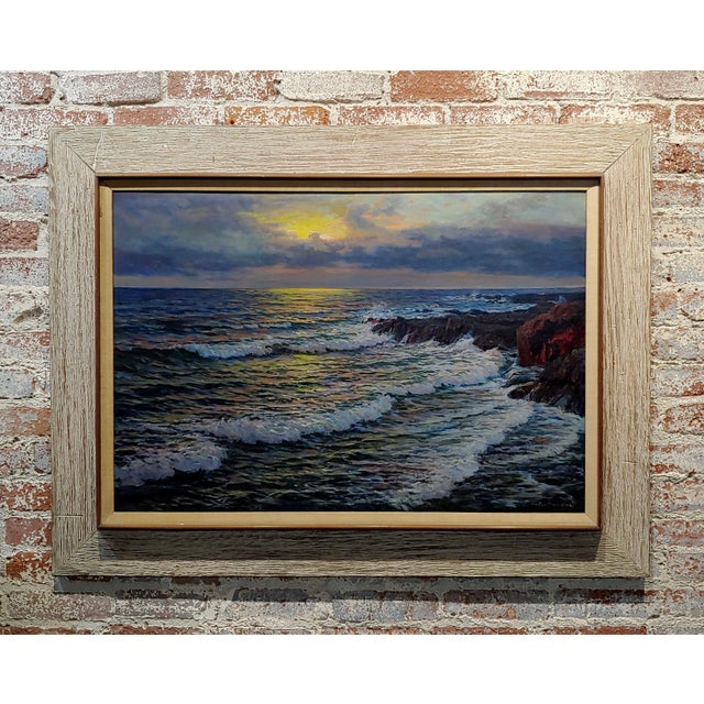 "Vartan Mahokian ""Seascape Magic Sunset"" Oil Painting C.1920s For Sale - Image 11 of 11"