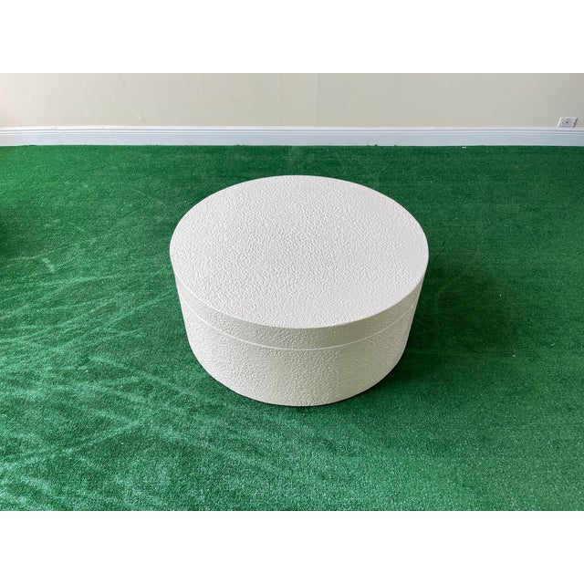 1990s White Circular Swivel Top Coffee Table For Sale - Image 4 of 7