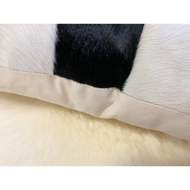 """Black and White Patchwork Cowhide Pillow, 24"""" For Sale - Image 4 of 8"""