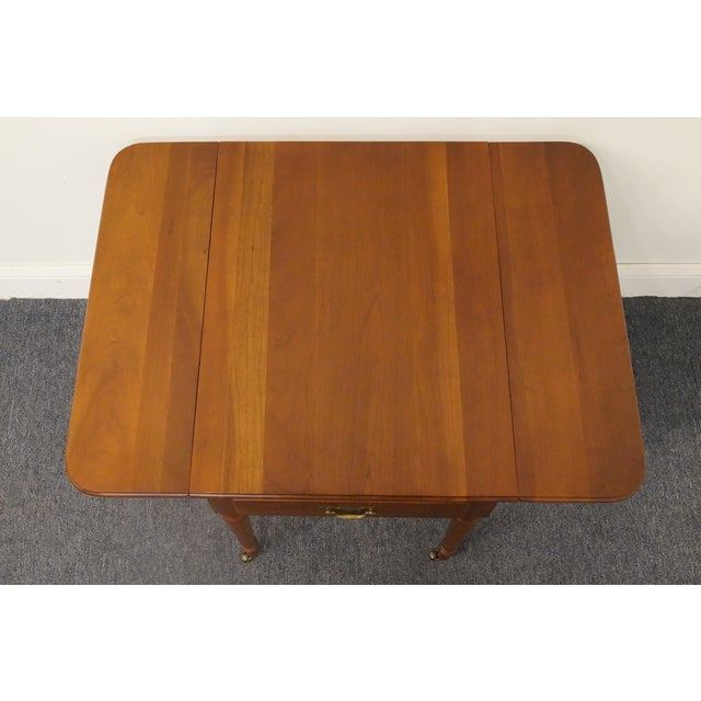 20th Century Tradiitonal Statton TruType Americana Solid Cherry Drop Leaf Pembroke End Table For Sale - Image 12 of 13
