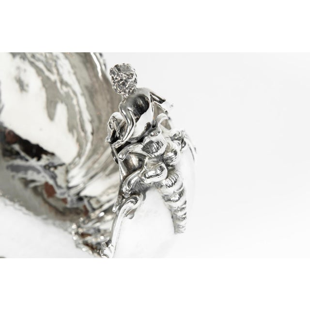 Mid 19th Century Antique Sterling Silver Boat Shape Centerpiece For Sale - Image 5 of 13