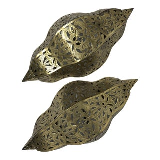 Vintage Moroccan Brass Filigree Sconces - a Pair For Sale