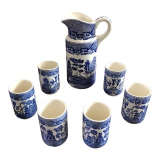 Vintage Blue Willow Pitcher & Tumbler Set- 7 Pieces For Sale