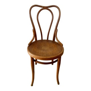 Antique 1910s Fischel Bentwood French Bistro Chair Thonet