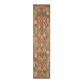 """1990s Navajo Style Kilim Azzie Rust Blue Hand Woven Rug - 2'10"""" X 12'6"""" For Sale"""