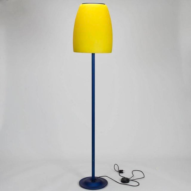 Memphis Mid-Century Blue & Yellow Glass Shaded Floor Lamp | Chairish