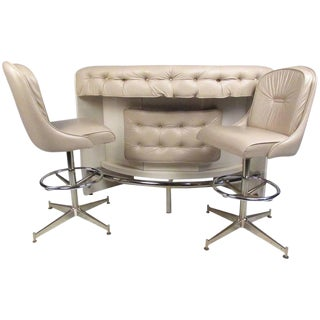 Contemporary Modern Upholstered Dry Bar With Stools For Sale