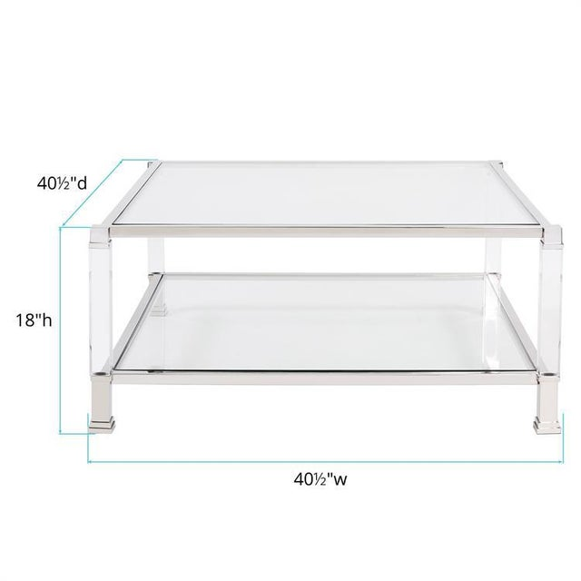 Mid-Century Modern Kenneth Ludwig Claire Acrylic & Chrome Coffee Table For Sale - Image 3 of 5