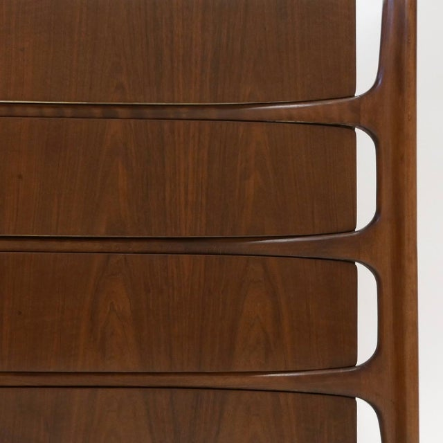 Brown William Hinn Swedish Book-Matched Gentlemen's Chest With Top Cabinet For Sale - Image 8 of 9