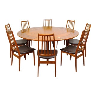 "1960s Danish Modern Dyrlund Teak Lotus ""Flip Flap"" Dining Set - 9 Pieces For Sale"
