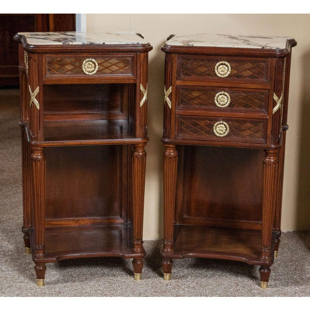Pair of Louis XVI Style Nigh Tables Possibly by Grohe - Image 2 of 10