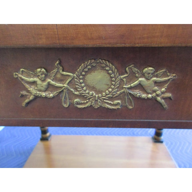 Brass Fine Arts Furniture Side Table With Ornate Cherub Motif For Sale - Image 7 of 13