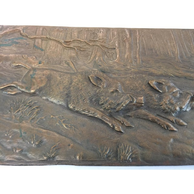 Realism Bronze Relief Placque Wild Boar by H Henjes Circa 1880 For Sale - Image 3 of 7