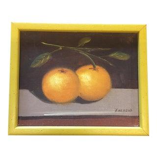 Vintage Original Painting Still Life Oranges For Sale