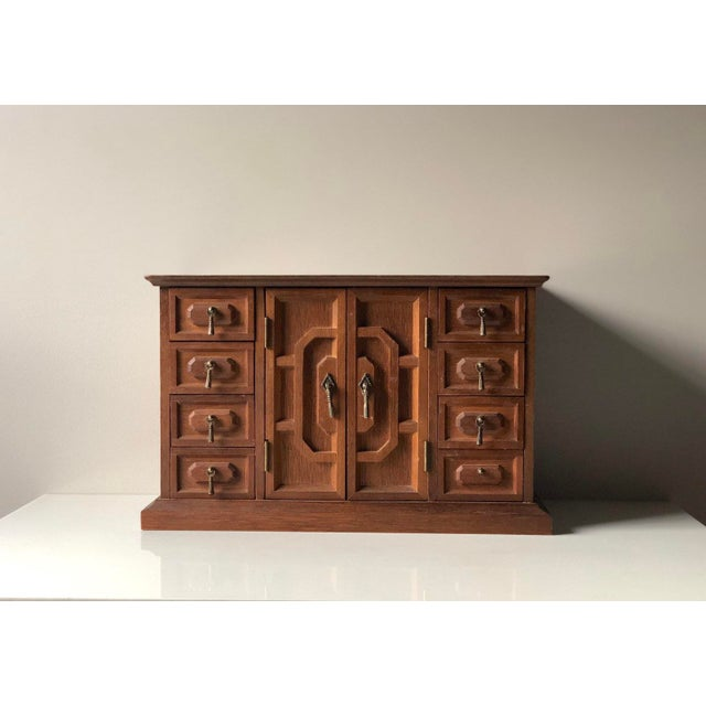 Mid Century Wooden Jewelry Box For Sale - Image 11 of 11