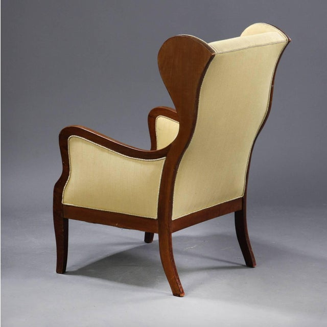Frits Henningsen Wingback Chair in Mahogany and Wool by Frits Henningsen, Denmark 1940s For Sale - Image 4 of 5