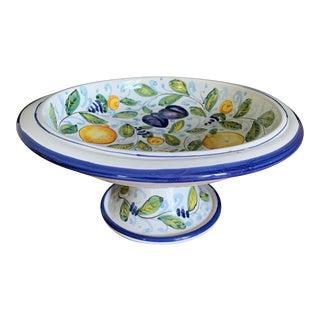 Vintage Glazed Italian Pottery Lemons & Plums Compote For Sale