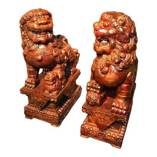 Carved Wooden Foo Dogs - A Pair For Sale
