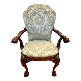 Antique Carved Mahogany Ball and Claw Arm Chair For Sale