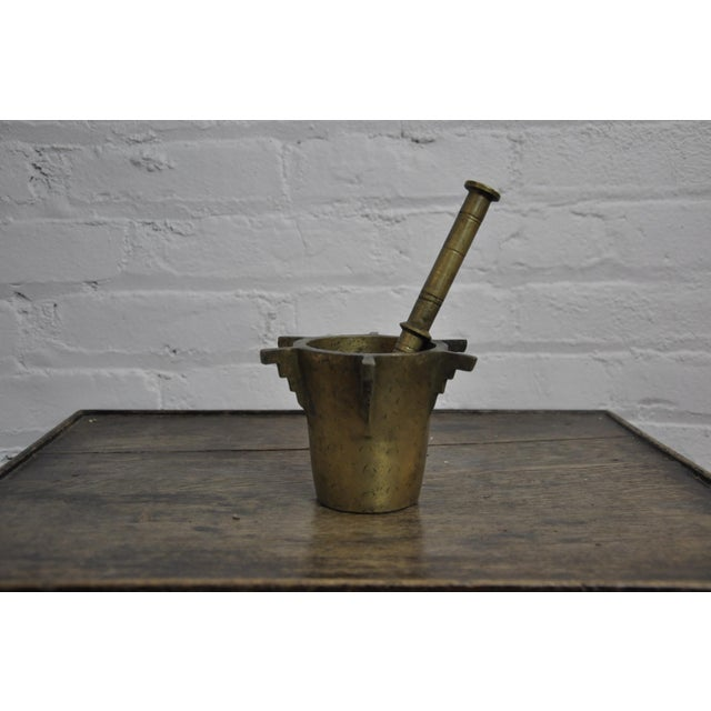 Gold Antique Ottoman Turkish Heavy Bronze Mortar and Pestle For Sale - Image 8 of 8