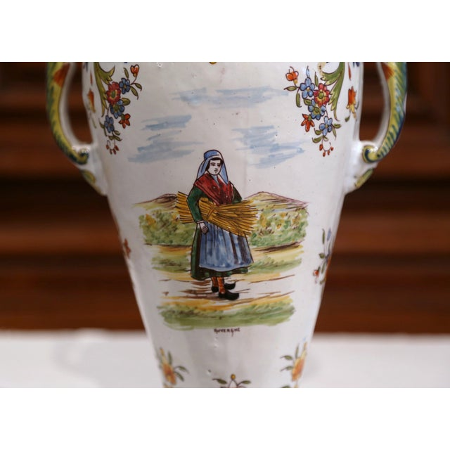Ceramic 19th Century French Hand-Painted Ceramic Vase With Handles From Rouen Normandy For Sale - Image 7 of 11