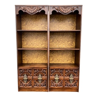 1970s Spanish Revival Bohemian Bookcase For Sale