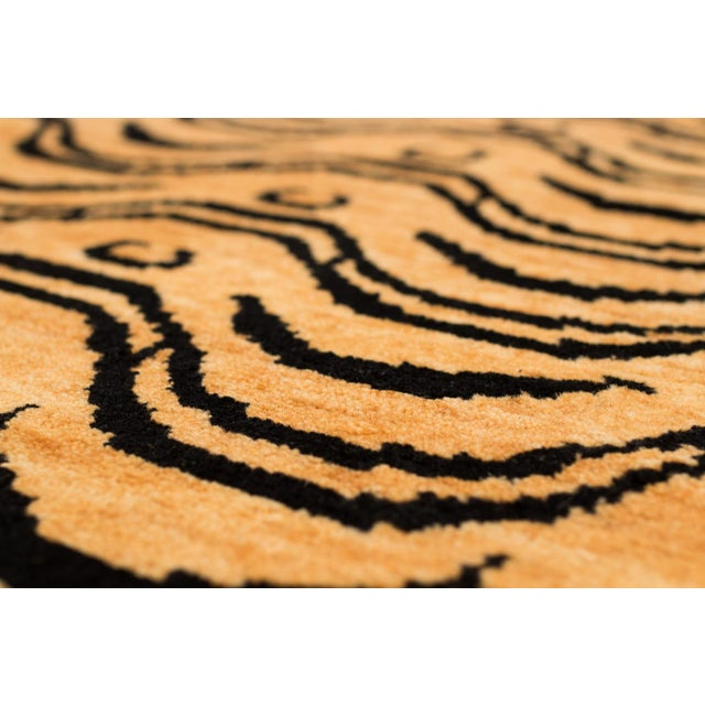 Black and Tan Wool Tibetan Tiger Area Rug For Sale In New York - Image 6 of 7