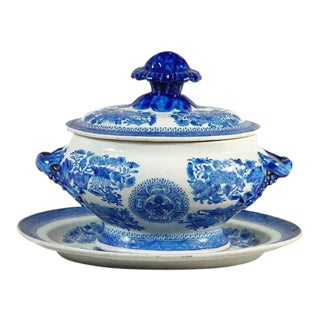 Chinese Export Blue Enamel Fitzhugh Sauce Tureen, Cover and Stand For Sale