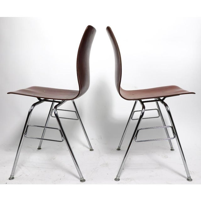 Pagholz Pr. Royal Pagholz Mid Century Stacking Chairs For Sale - Image 4 of 9