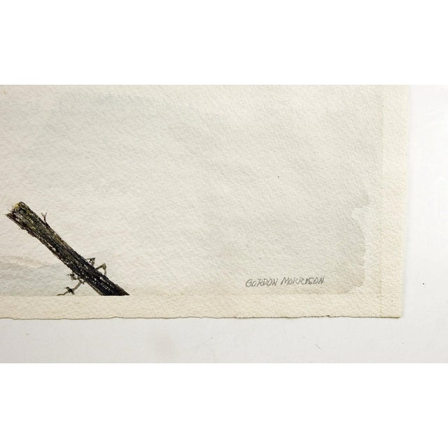 Watercolor on paper of snow covered barn in winter by Gordon Morrison (20th Century). Signed lower right corner. Unframed,...