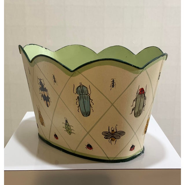 Vintage Tole Painted Insect Motif Scalloped Edge Metal Planter For Sale - Image 11 of 12