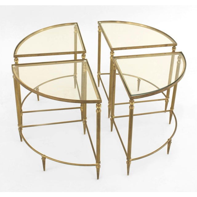 Mid-Century American Brass Coffee Table With Four Nested Wedge Tables For Sale - Image 4 of 7