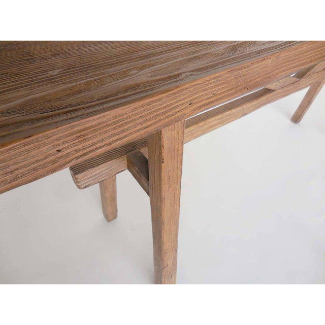 Exceptional Reclaimed Wood Console with High V Stretcher by Dos
