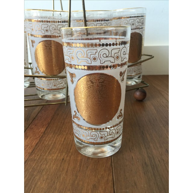 Gold Highball Glasses With Caddy - Set of 8 - Image 6 of 7