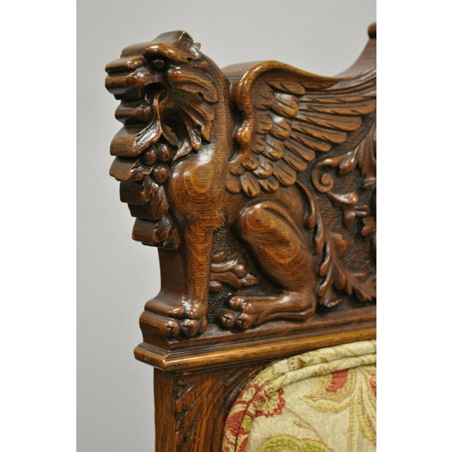 Late 19th Century Late 19th Century Vintage Carved Oak Winged Griffin Paw Foot Dining Chairs- A Pair For Sale - Image 5 of 12