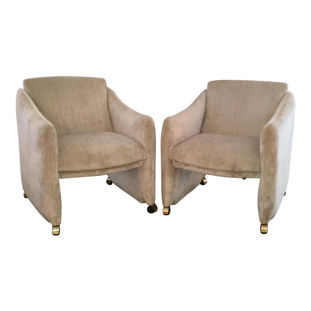 Pair of Milo Baughman Lounge Chairs on Casters Newly Upholstered in Velvet - Image 1 of 8