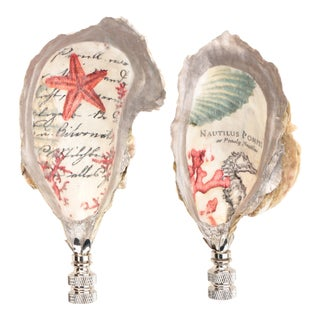 Seafarer's Oyster Shell Lamp Finials in Silver - a Pair For Sale