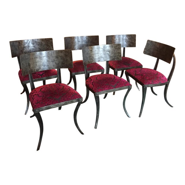 Modern Ched Berenguer-Topacio Klismos Style Hand-Forged Iron Chairs - Set of 6 For Sale