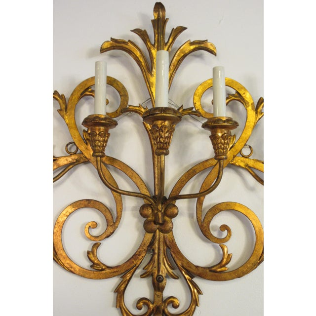 1950s Large Gilt Iron Italian Sconce For Sale - Image 4 of 11