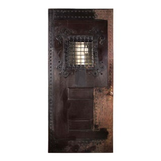 """Speakeasy"" - C. 1900 Arts and Crafts Style Oak and Cast Iron Two Panel Door With Nailhead Detail. For Sale"
