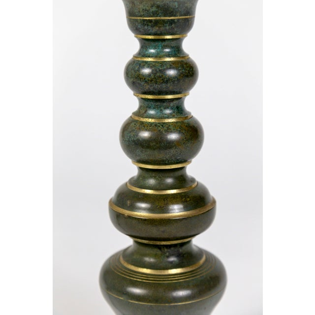 Asian Asian Style Green & Gold Painted Brass Candlestick Lamp For Sale - Image 3 of 9