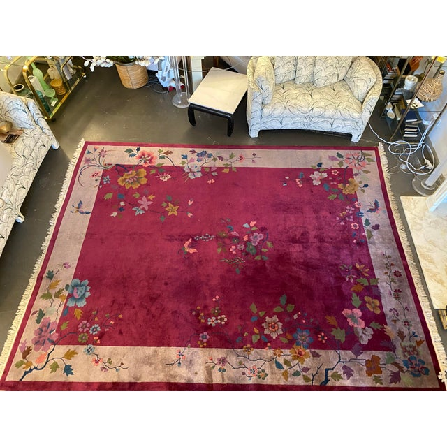 """Chinese Art Deco Rug 139"""" X 107"""" For Sale - Image 9 of 10"""