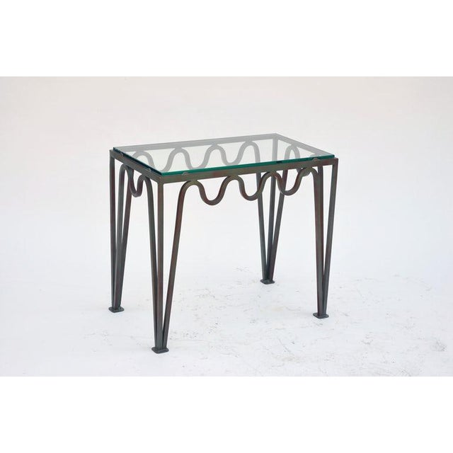 """Modern Contemporary """"Méandre"""" Verdigris Iron and Glass Side Table For Sale - Image 3 of 7"""